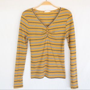 Marigold and black striped long sleeve